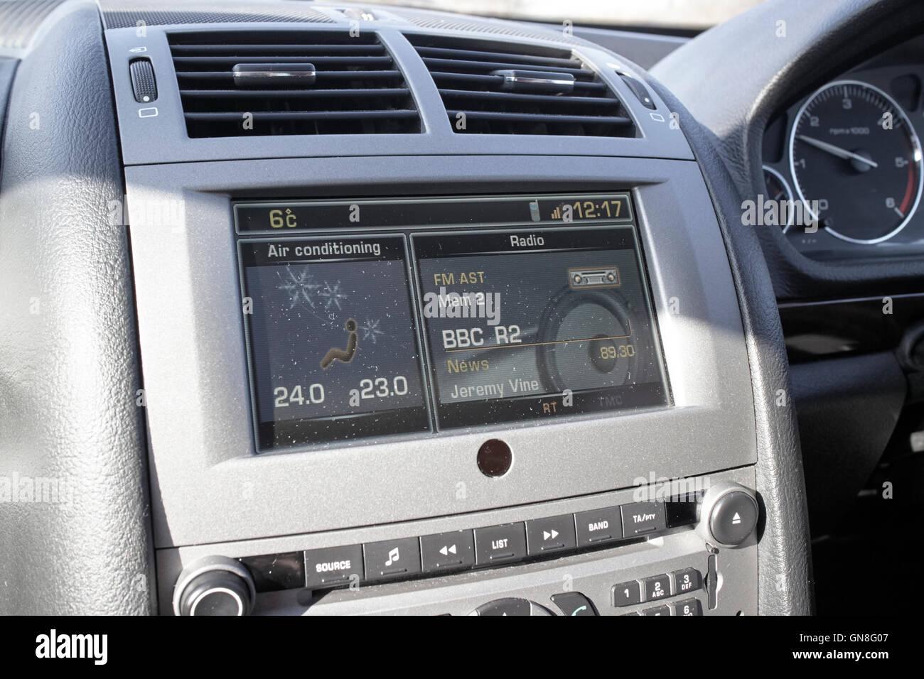 BBC Radio 2 displaying on car in screen enterainment display - Stock Image