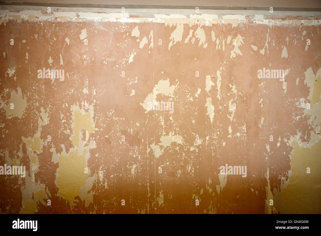 Paint And Wallpaper Stripped Off A Plaster Wall Stock Photo