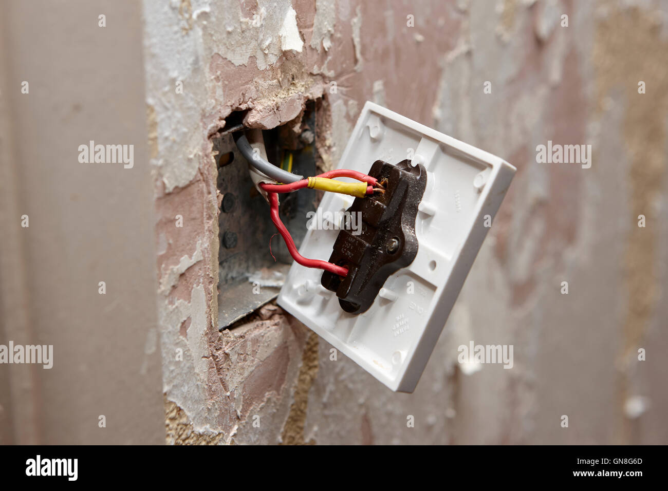 Domestic Electrical Light Switch Wiring Household Stock Photos Bare On Back Of In House Being Redecorated The Uk