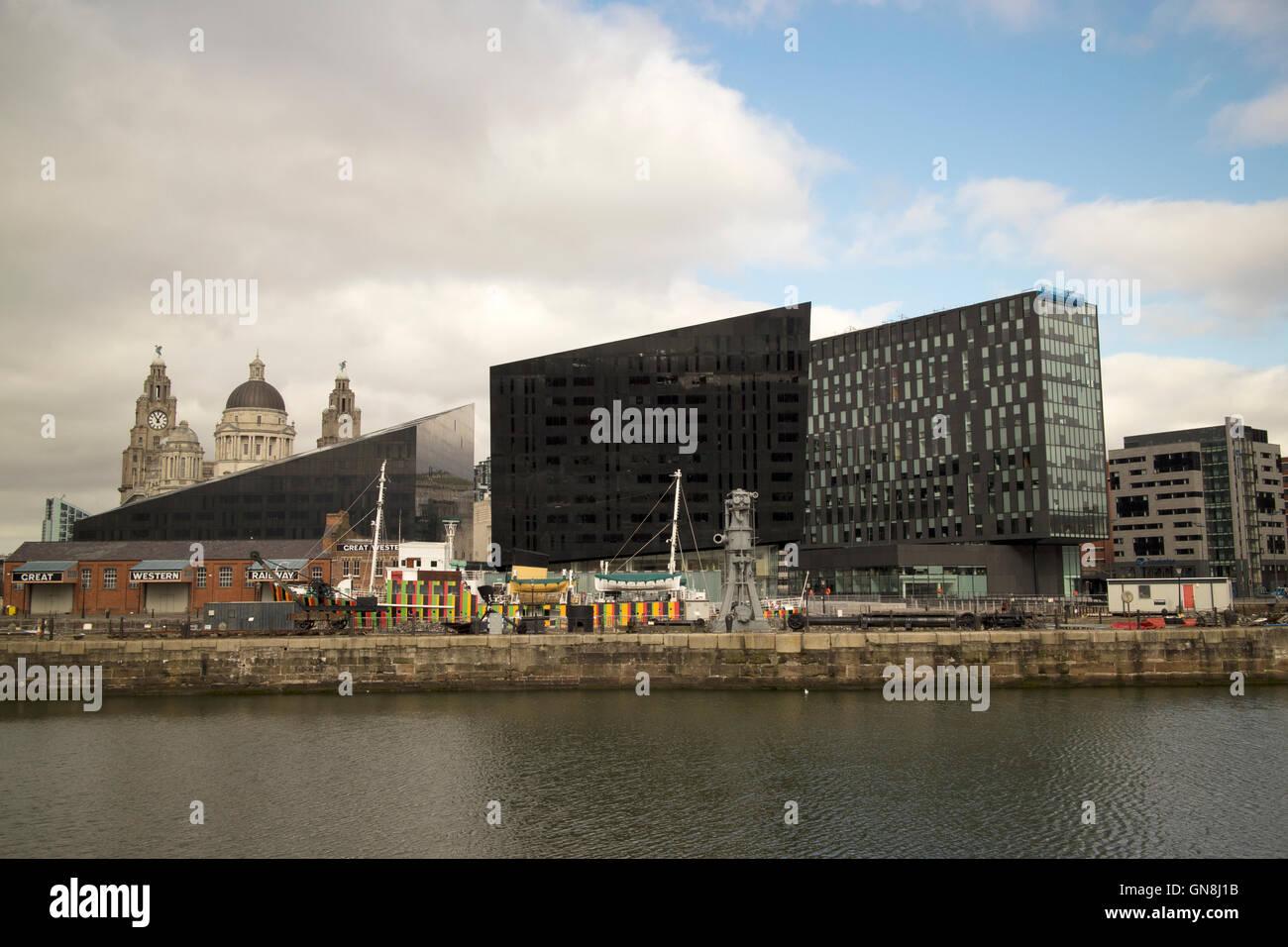 canning docks and mann island Liverpool docks Merseyside UK - Stock Image