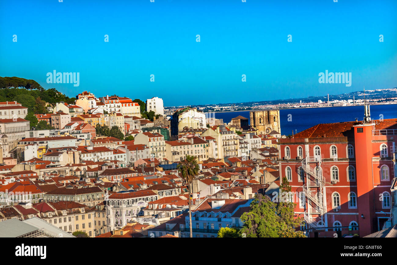 Belevedere Miradoura de Sao Pedro de Alcantara Outlook Cathedral Houses Harbor Lisbon Portugal - Stock Image