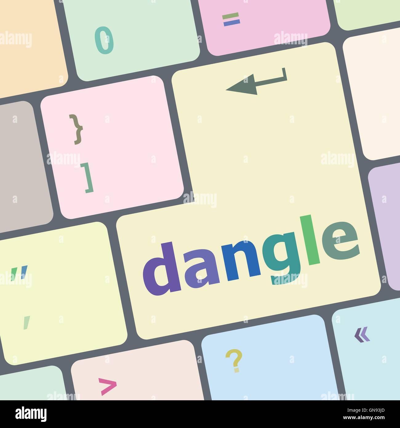 dangle word on computer keyboard key vector illustration - Stock Image