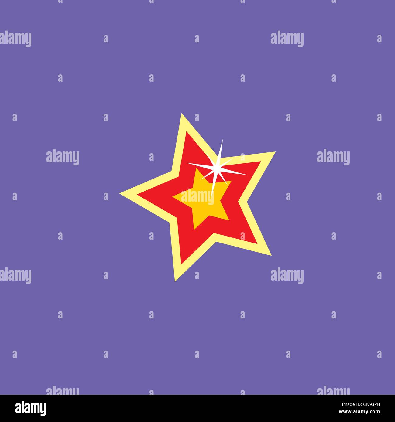 cartoon star icon button - Stock Image