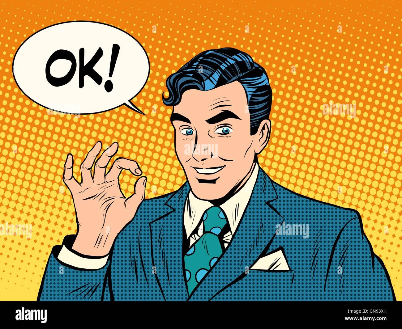 successful businessman okay gesture OK - Stock Vector