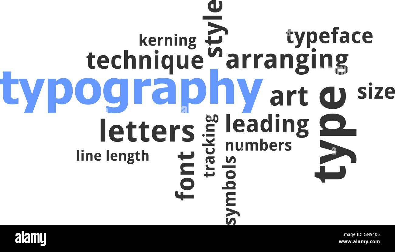 word cloud - typography - Stock Image