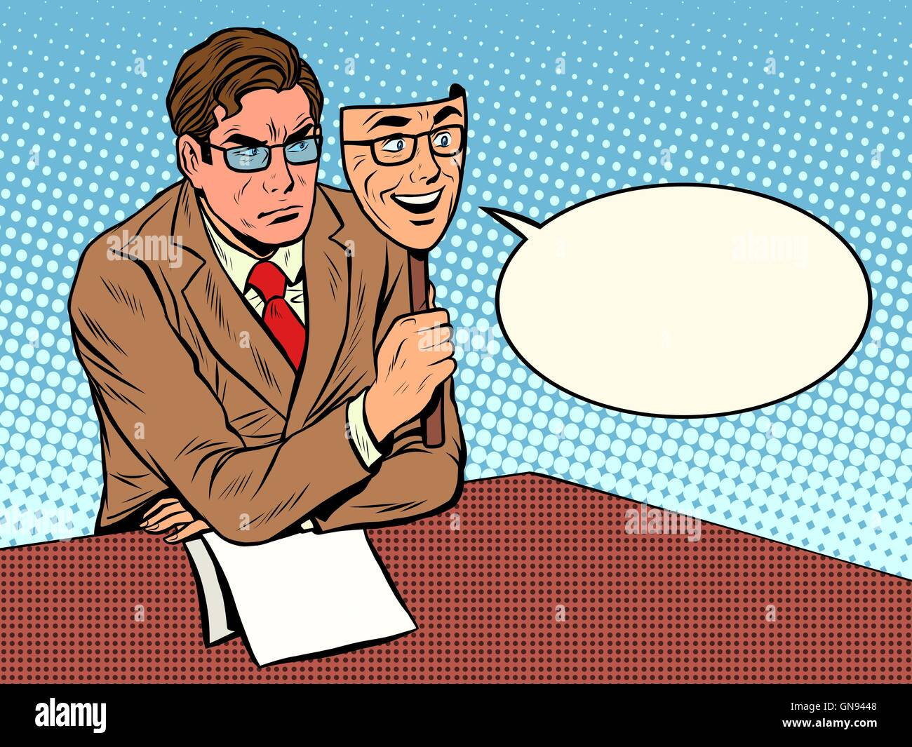 Diplomacy policy mask on his face - Stock Vector