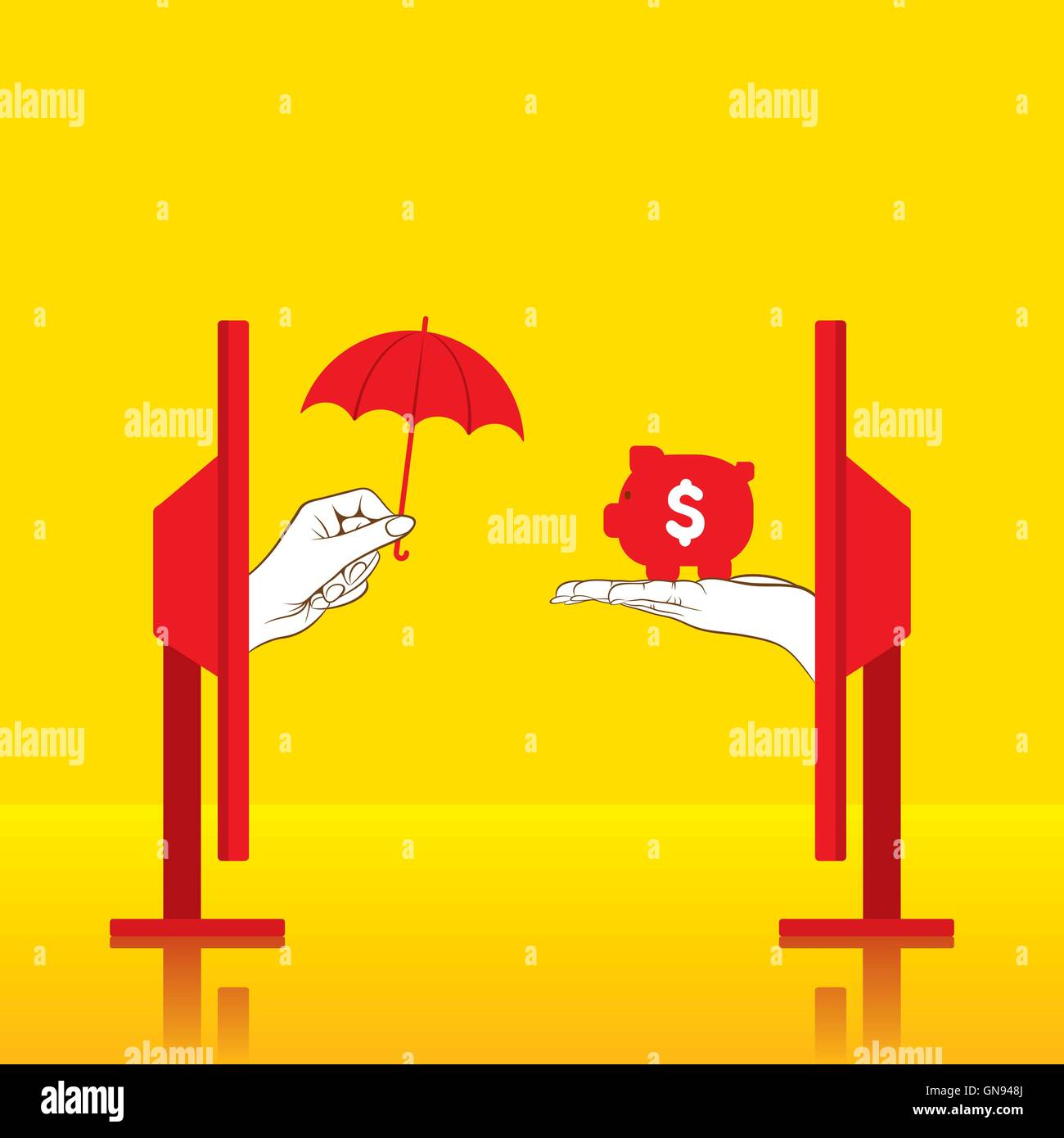 creative conceptual secure money or insure money concept design - Stock Image