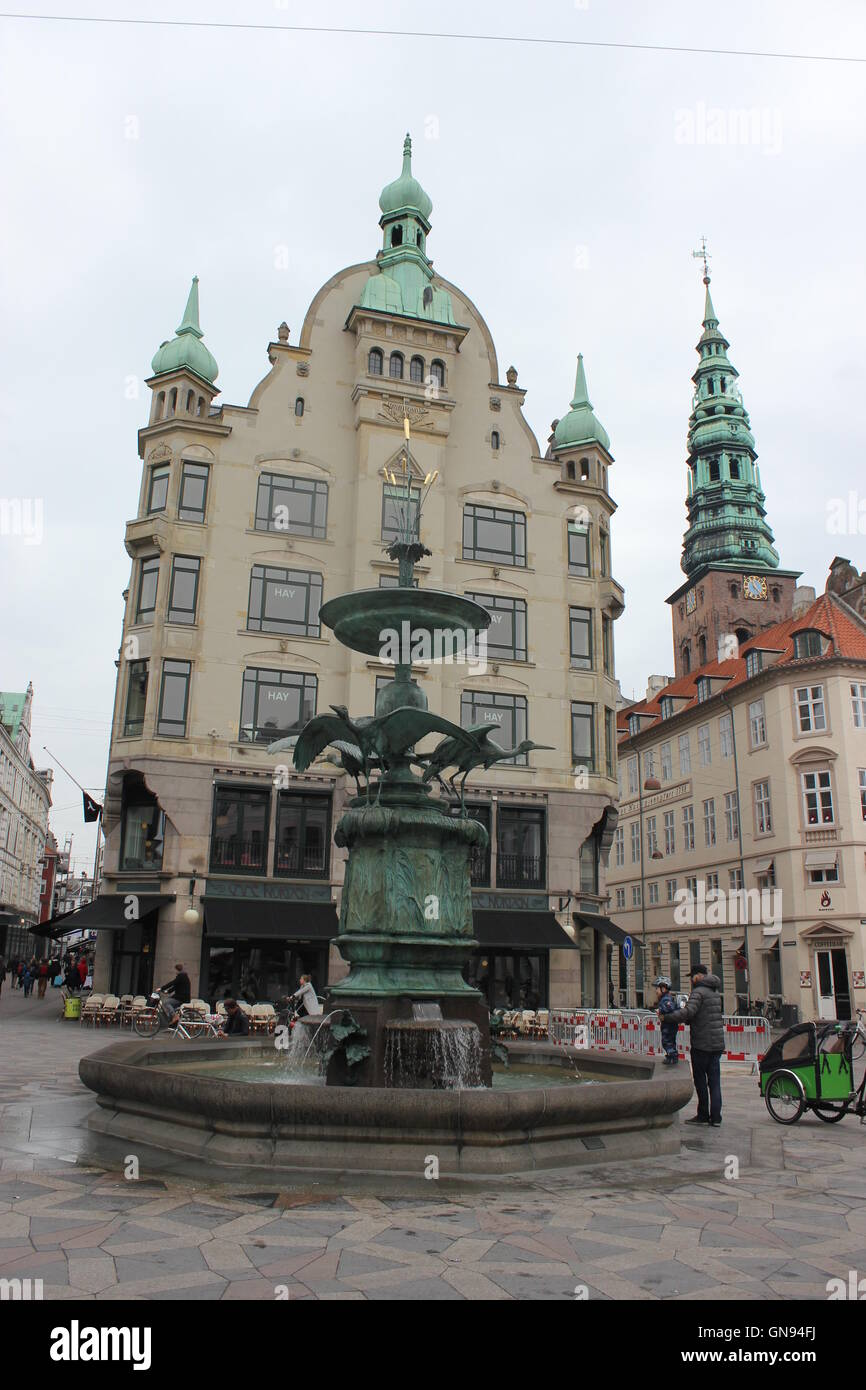 Amagertorv, Amager Square, a part of the Strøget with a beautiful Storkespringvandet, Stork Fountain in Copenhagen, - Stock Image