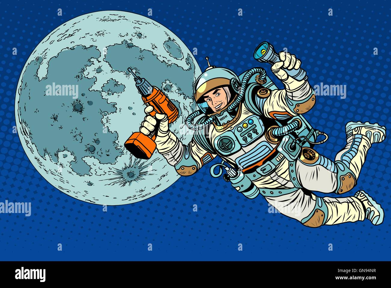 Astronaut with a drill and flashlight on the Moon - Stock Vector