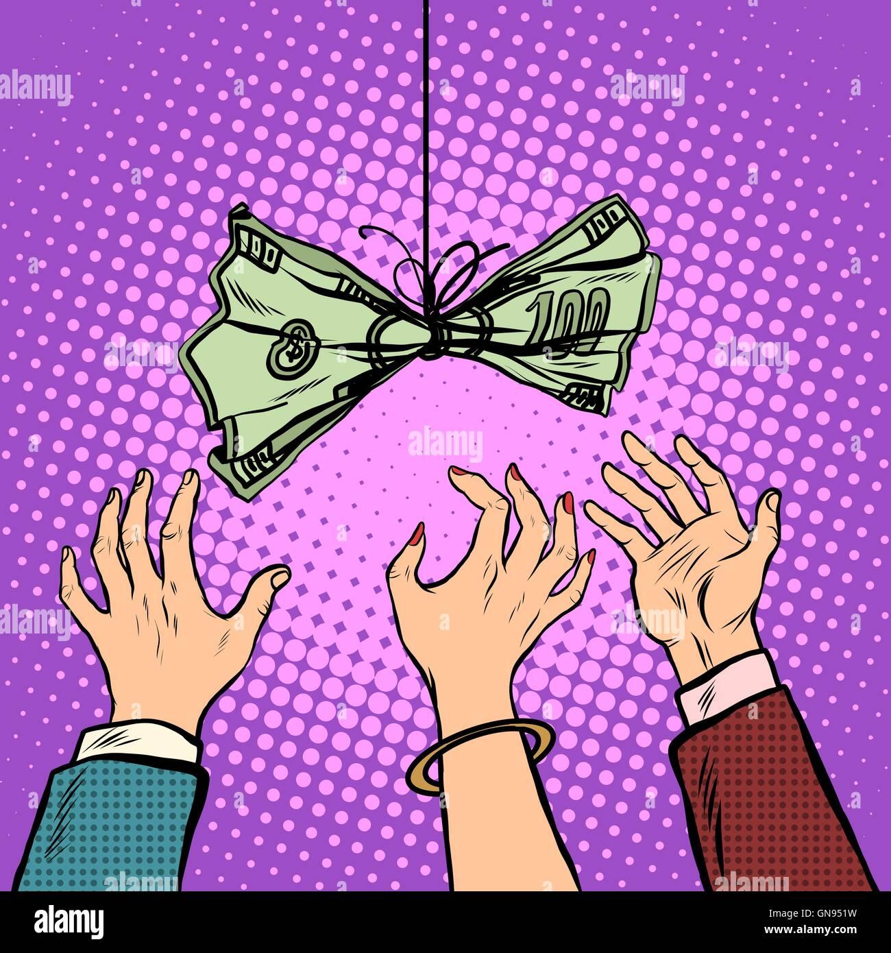 Cash bait vector retro illustration - Stock Image