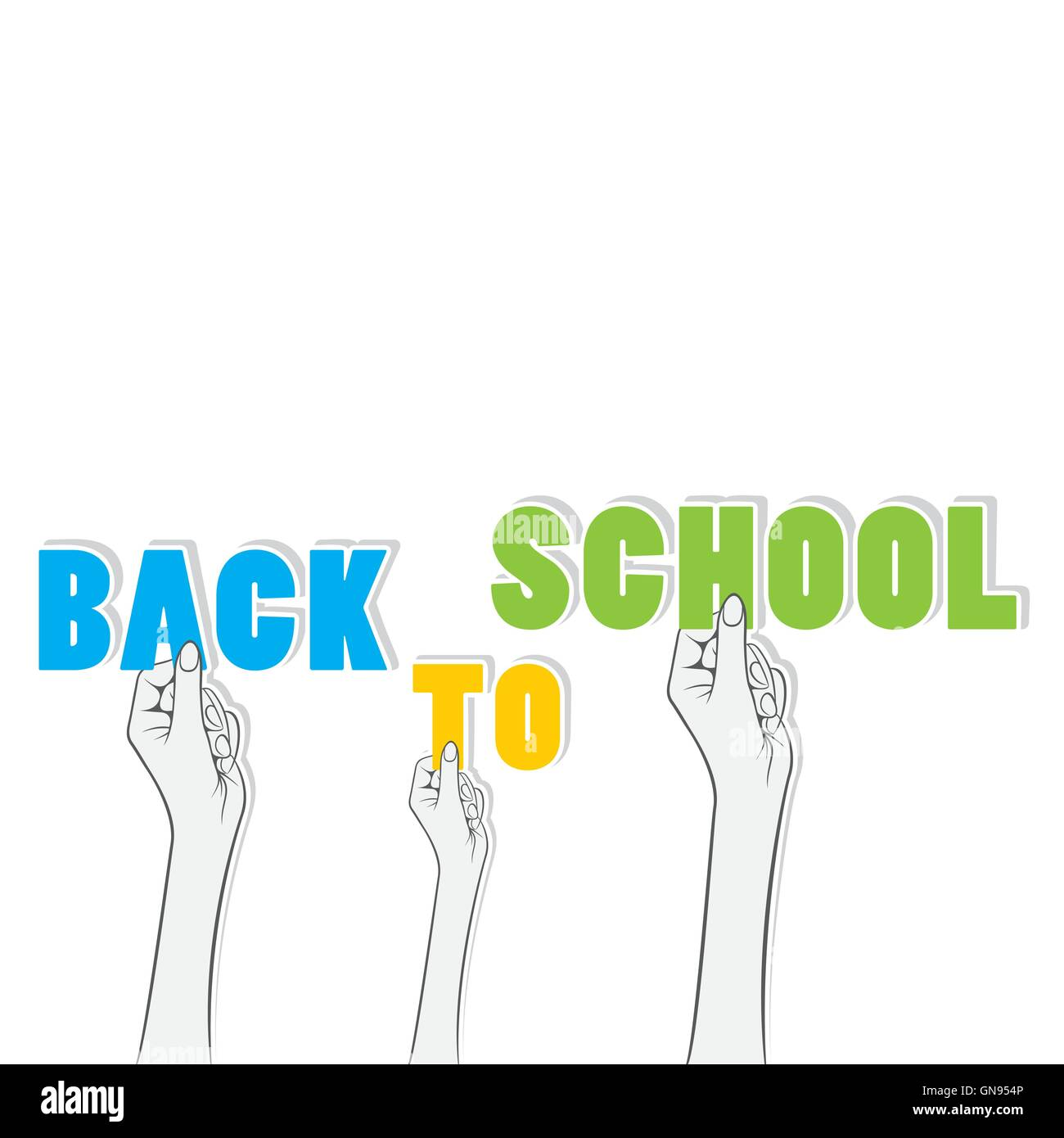 back to school word hold in hand concept design - Stock Image