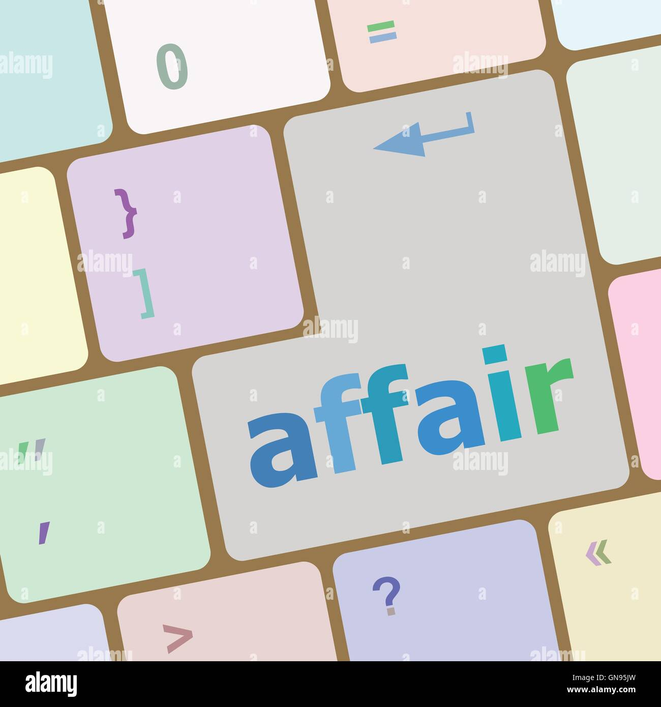 computer keyboard keys, affair word vector illustration - Stock Image
