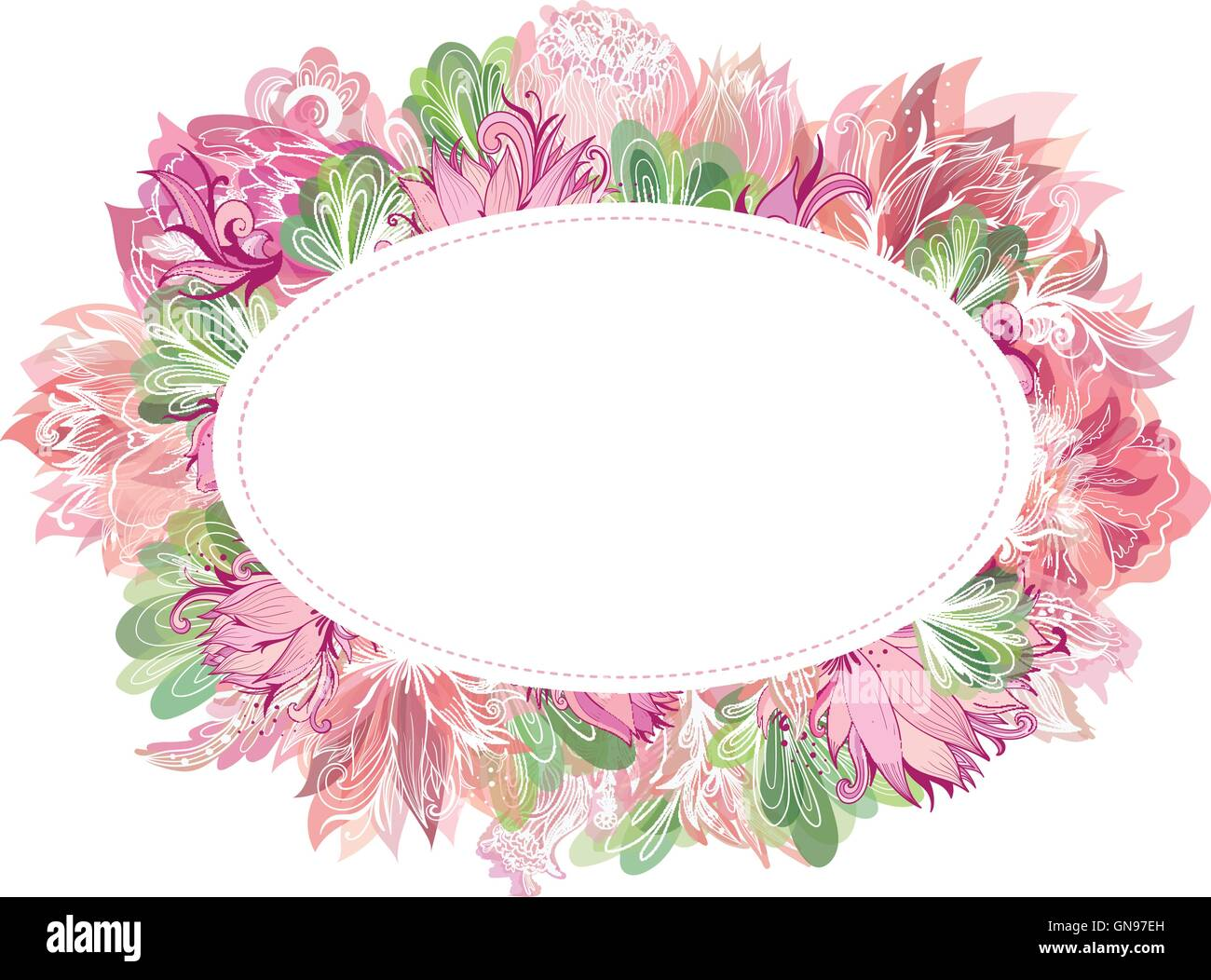 Soft Vector Oval Floral Frame