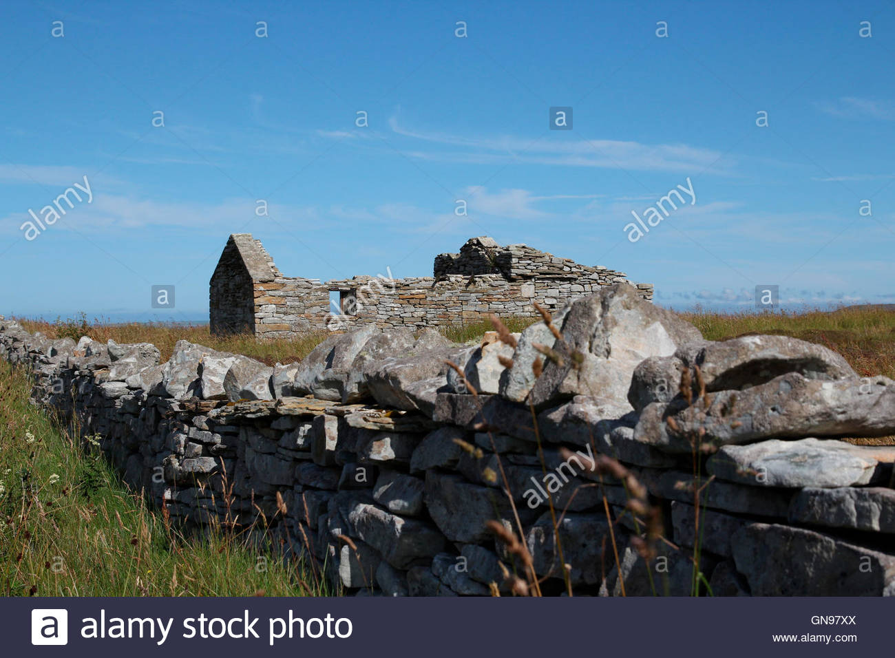 ruin at ring road on the island of rousay, orkney islands, scotland, united kingdom - Stock Image