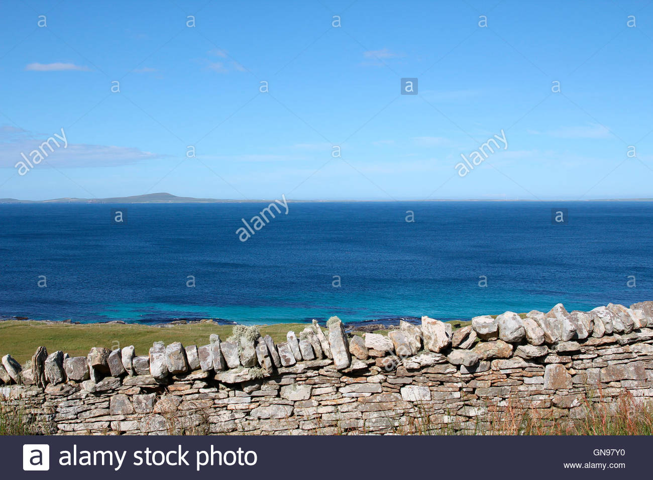 look to the westray from ring road on the island of rousay, orkney islands, scotland, united kingdom - Stock Image