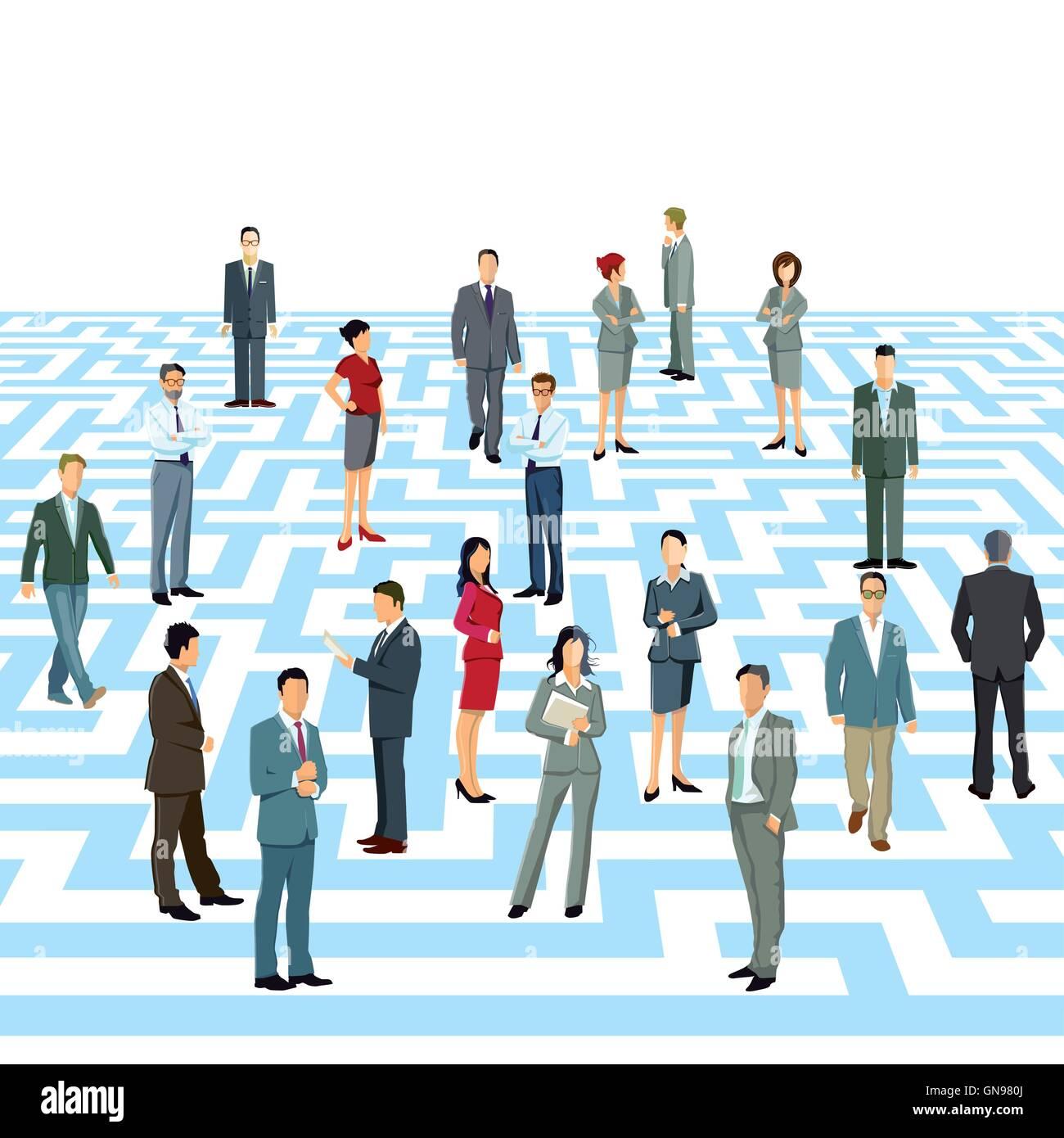 Business maze - Stock Vector