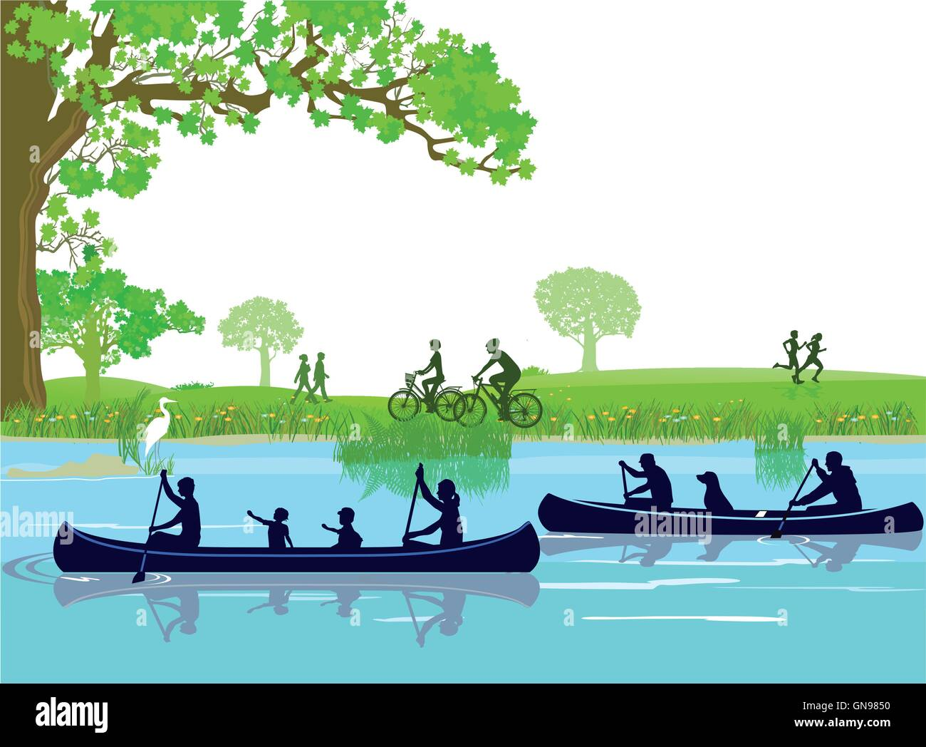 Canoeing in the leisure - Stock Vector