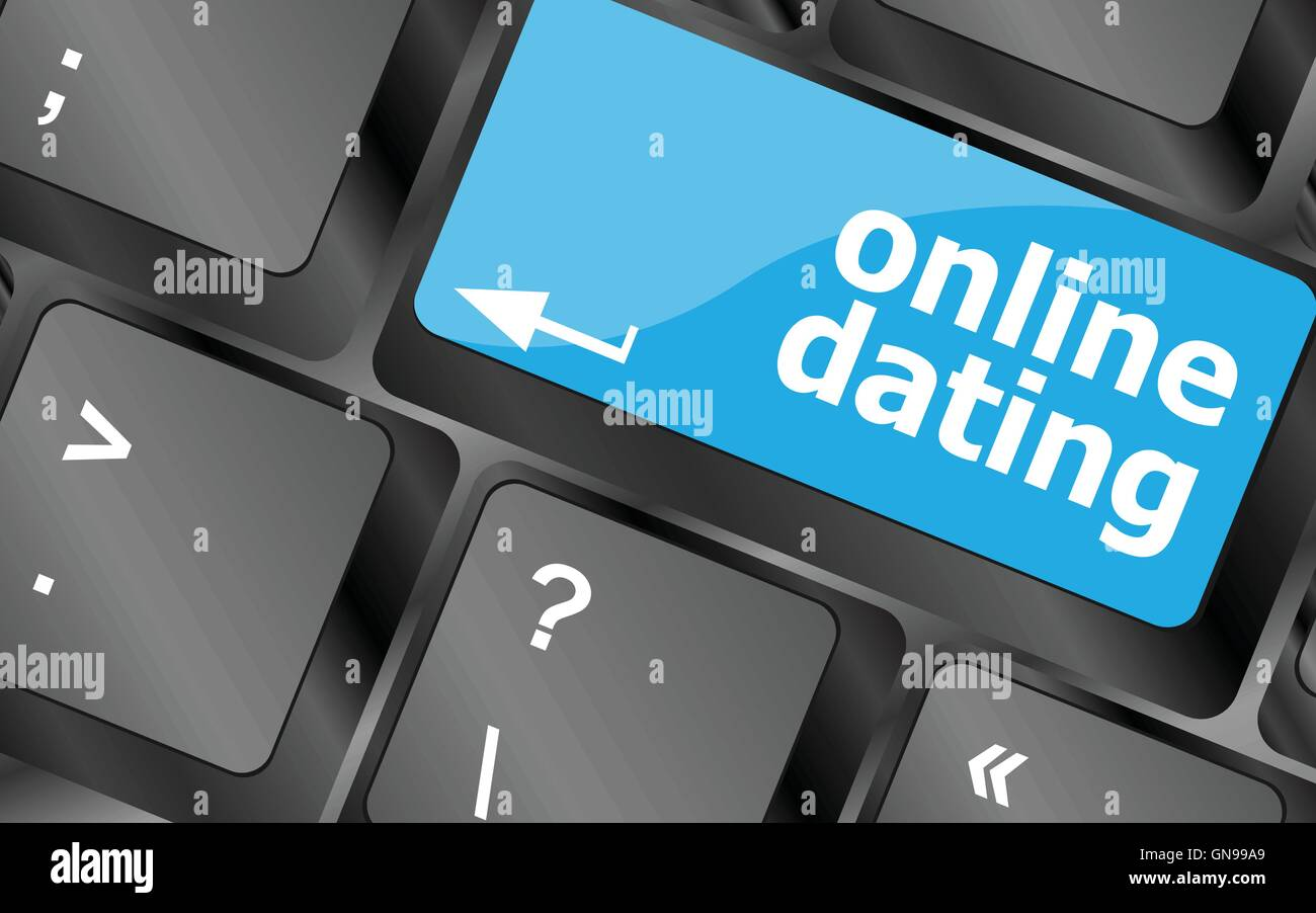 A keyboard with a online dating button - social concept. Keyboard keys icon button vector - Stock Image