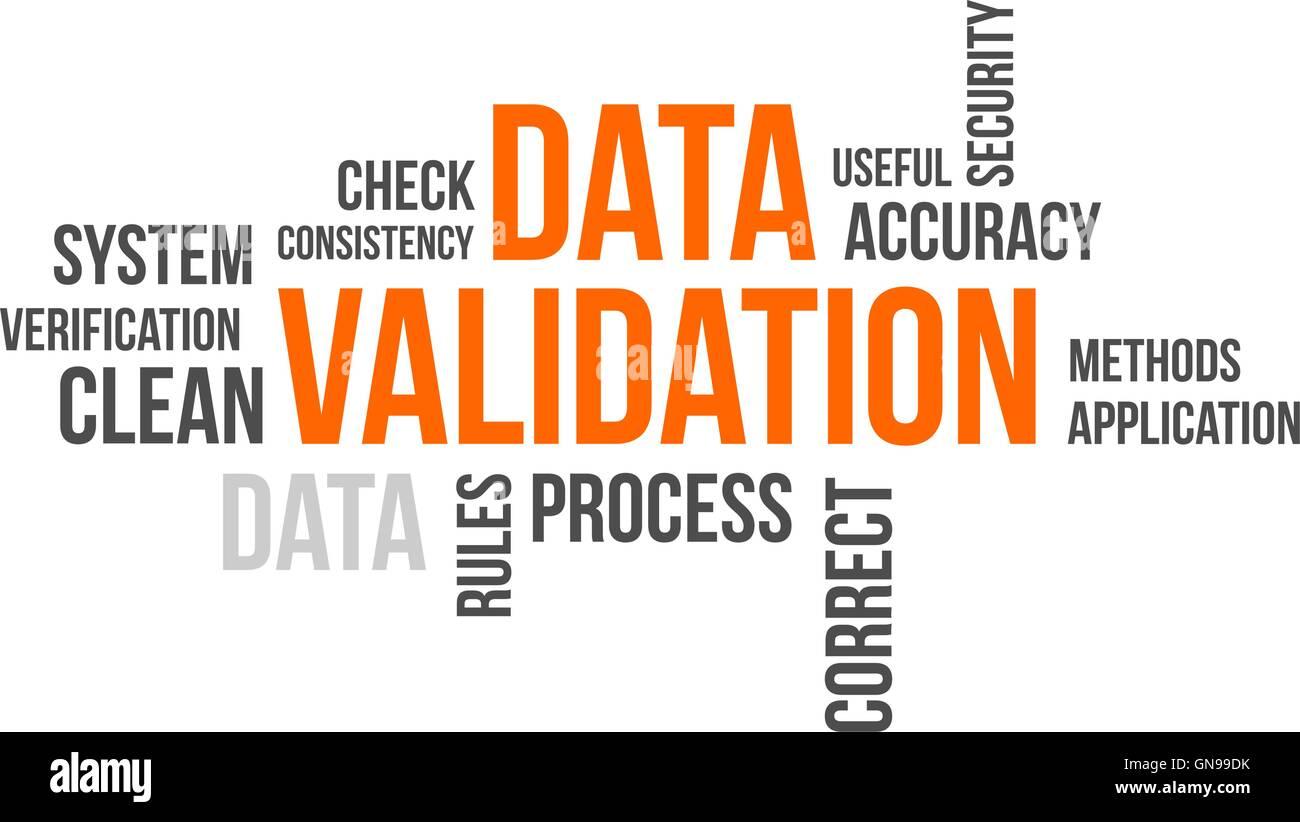 word cloud - data validation - Stock Image