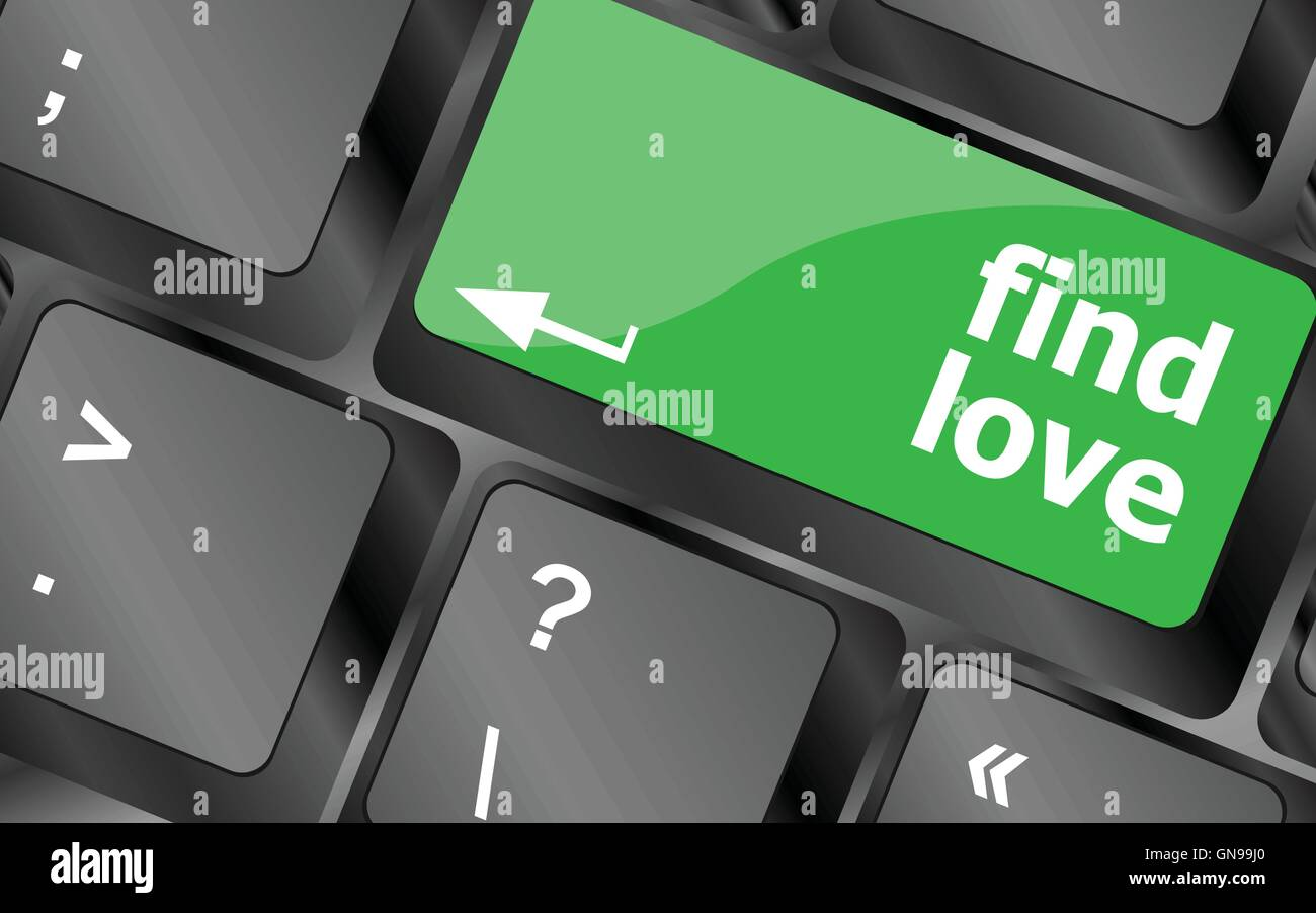 A keyboard with a find love button - social concept. Keyboard keys icon button vector - Stock Image