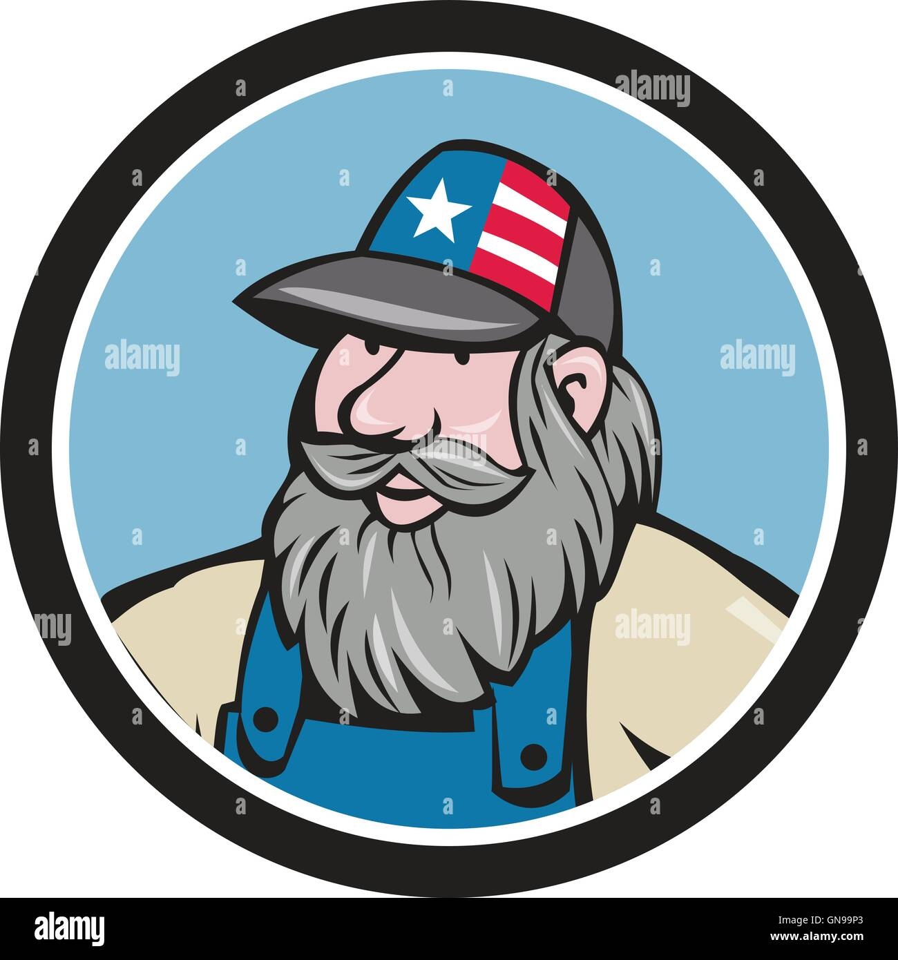 368280bc Hillbilly Man Beard Circle Cartoon Stock Vector Art & Illustration ...