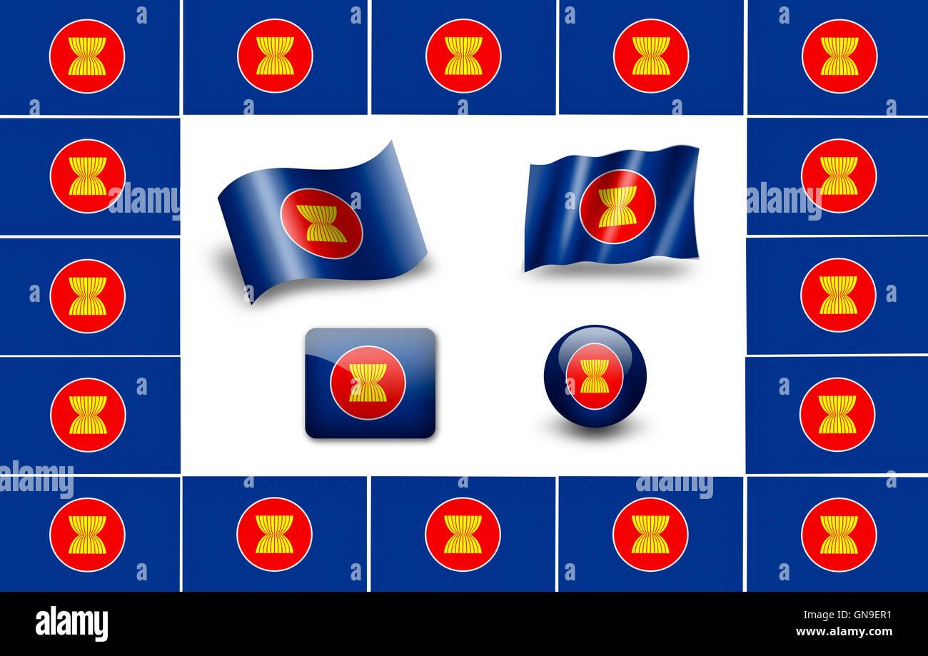 asean flag icon set - Stock Image