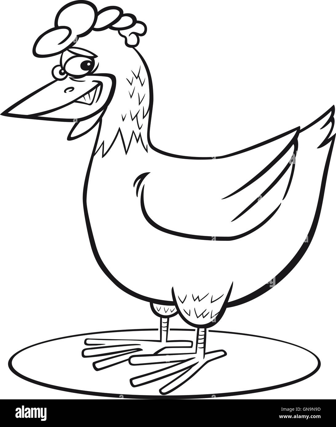 Cartoon hen coloring page Stock Photo: 116384281 - Alamy