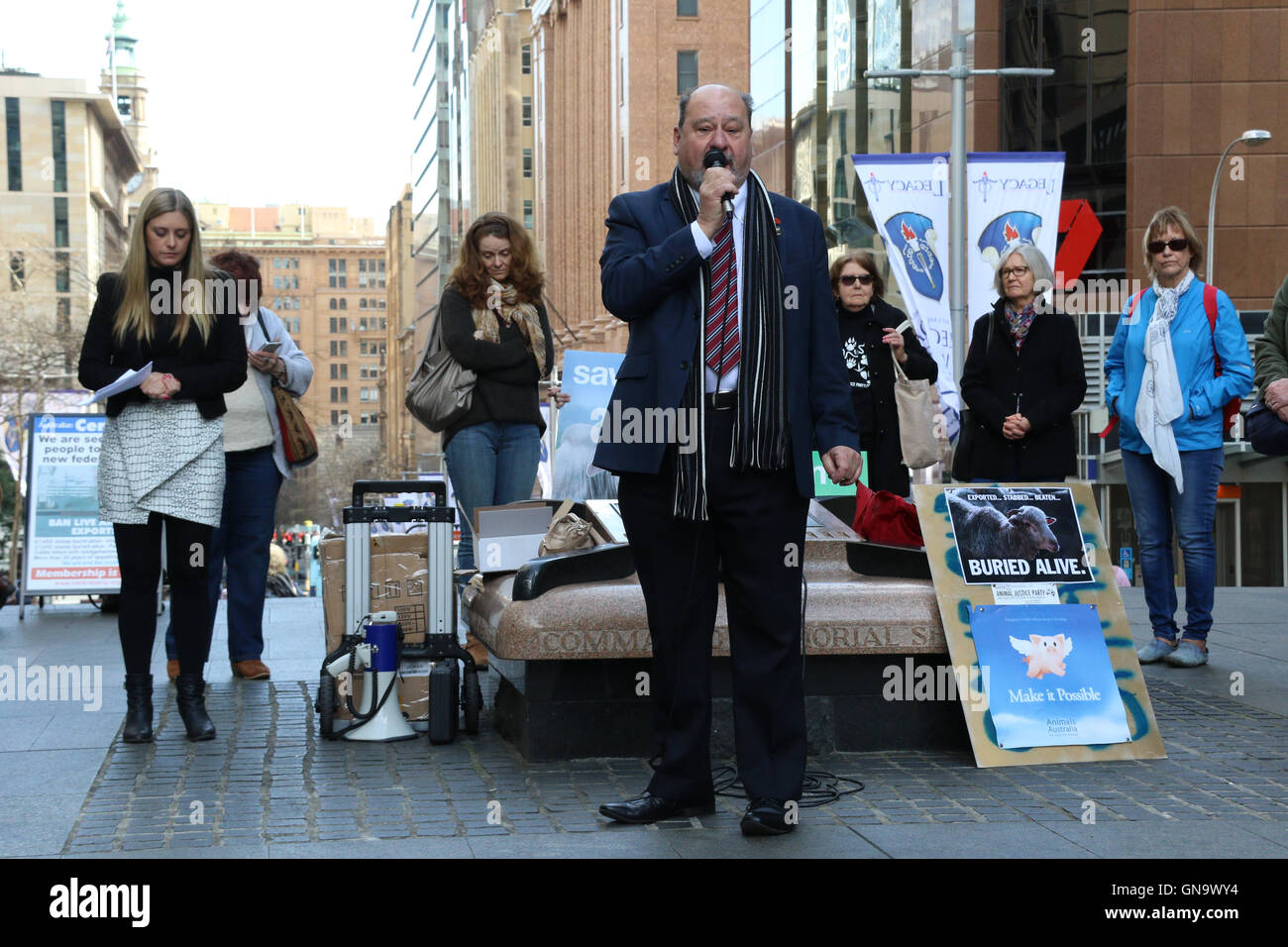 Sydney, Australia. 29th Aug, 2016. Animal Liberation NSW held a rally in Martin Place in support of the victims - Stock Image