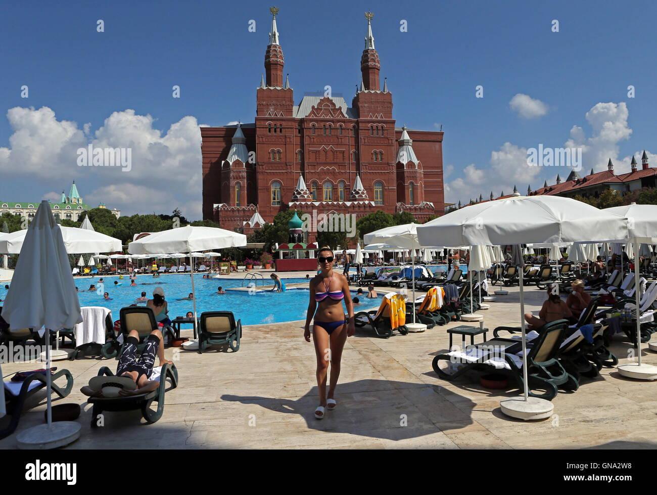 antalya turkey august 29 2016 holidaymakers at the kremlin palace hotel in the mediterranean resort of antalya russias federal air transport agency