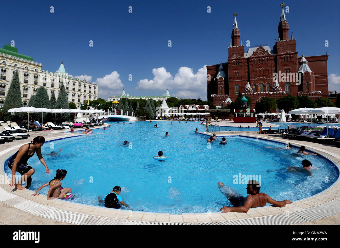 antalya turkey august 29 2016 a building resembling moscows museum of history r at the kremlin palace hotel in the mediterranean resort of antalya