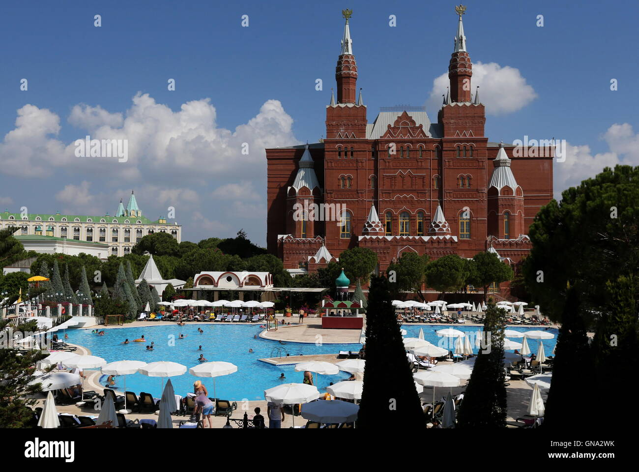 antalya turkey august 29 2016 a building resembling moscows museum of history at the kremlin palace hotel in the mediterranean resort of antalya