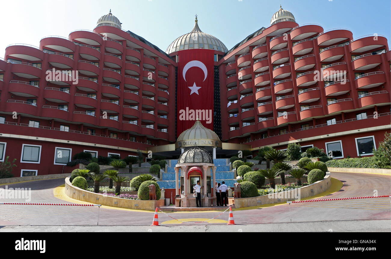 antalya turkey august 29 2016 a turkish national flag outside at the delphin palace hotel in the mediterranean resort of antalya