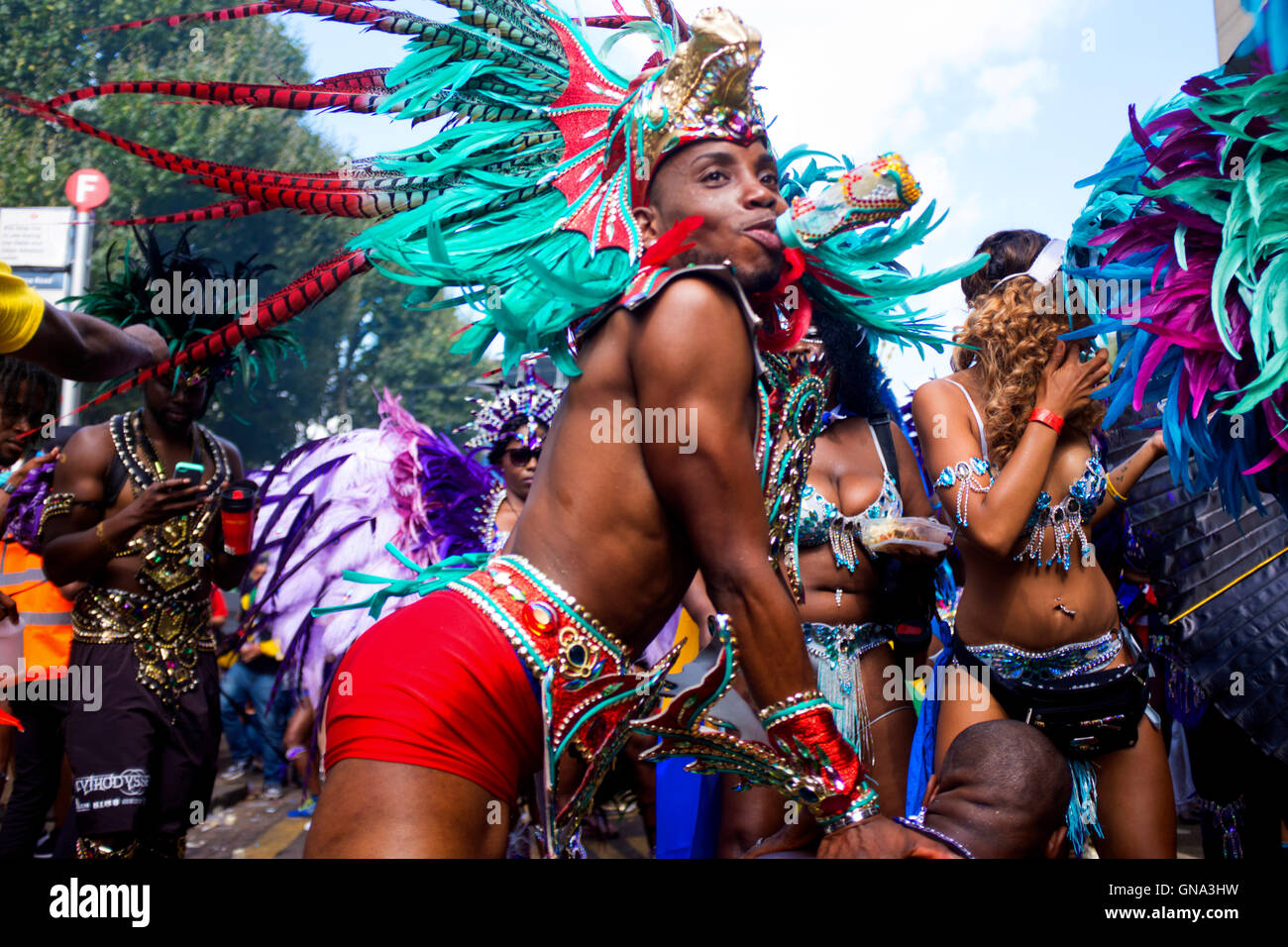 People in the Carnival parade at the 50th Notting Hill Carnival, London, August 29 2016. Credit:  wayne Tippetts/Alamy - Stock Image