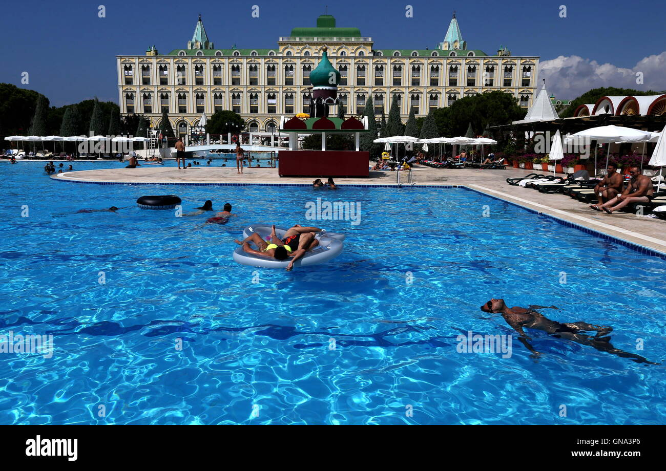 antalya turkey august 29 2016 holidaymakers at the kremlin palace hotel in