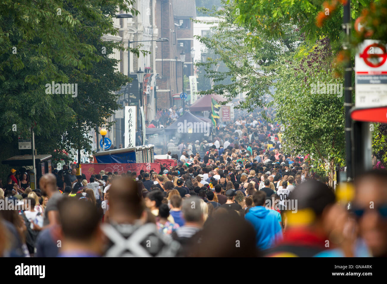 London, England, UK. 29th August 2016. Notting Hill Carnival 2016 during the bank holiday Monday.  Large Crowds - Stock Image
