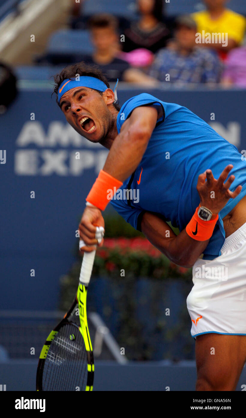 New York, USA. 29th Aug, 2016. Spain's Rafael Nadal in action during his first round match against Denis Istomin - Stock Image