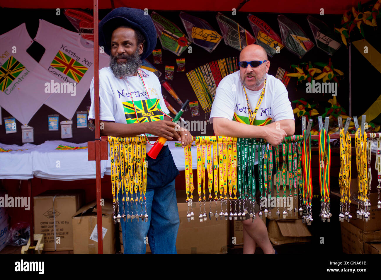 Carnival vendors at the 50th Notting Hill Carnival, London, August 29 2016. Credit:  wayne Tippetts/Alamy Live News - Stock Image