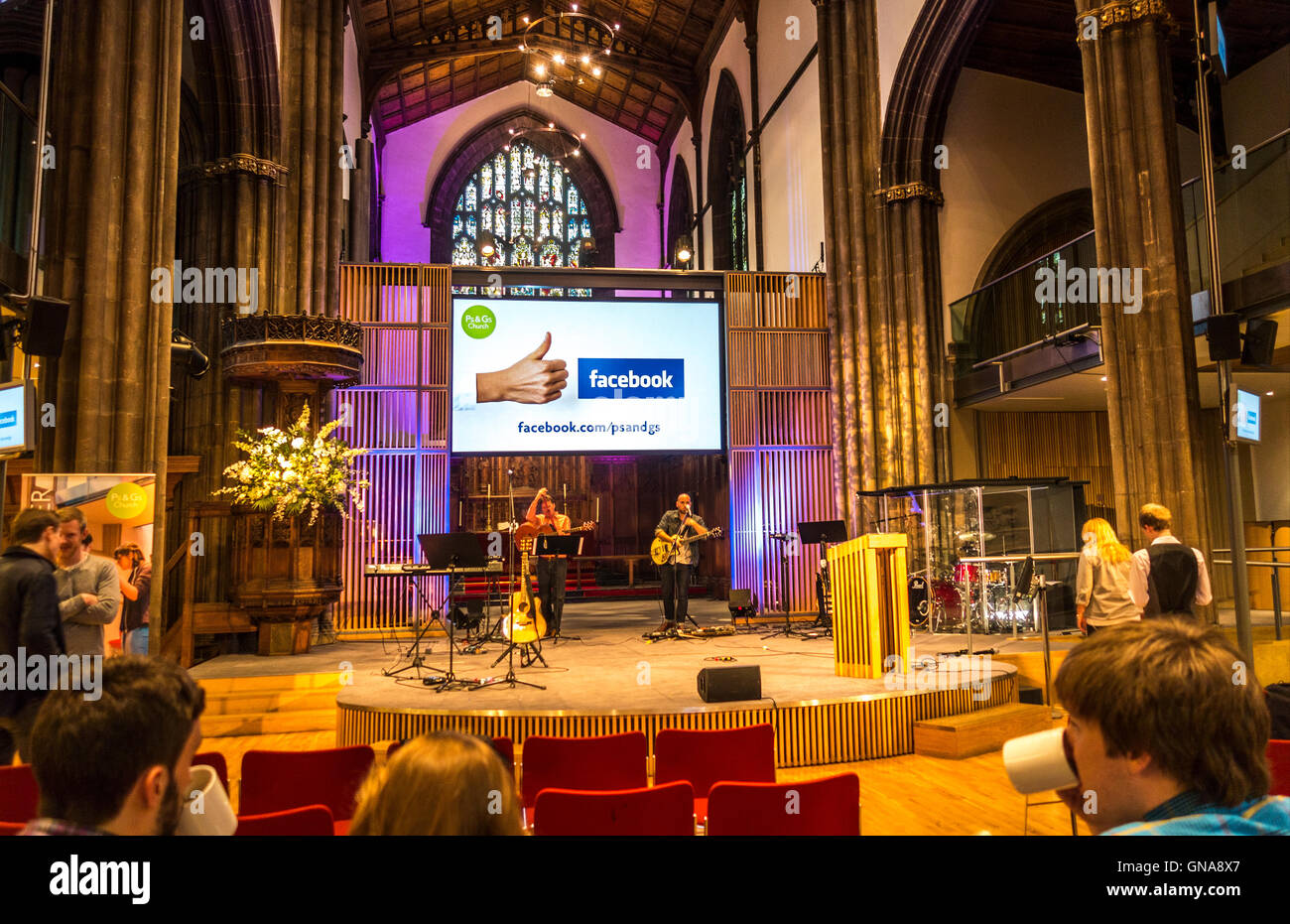 Facebook Like screen in St Paul's & St George's Church in Edinburgh. Church using social media. - Stock Image