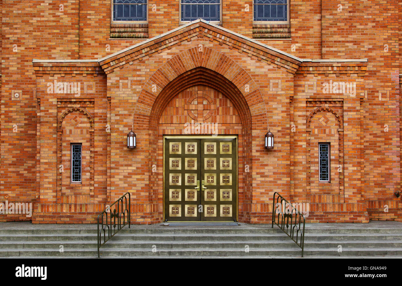 Greek Orthodox Brick Chruch Stock Photo