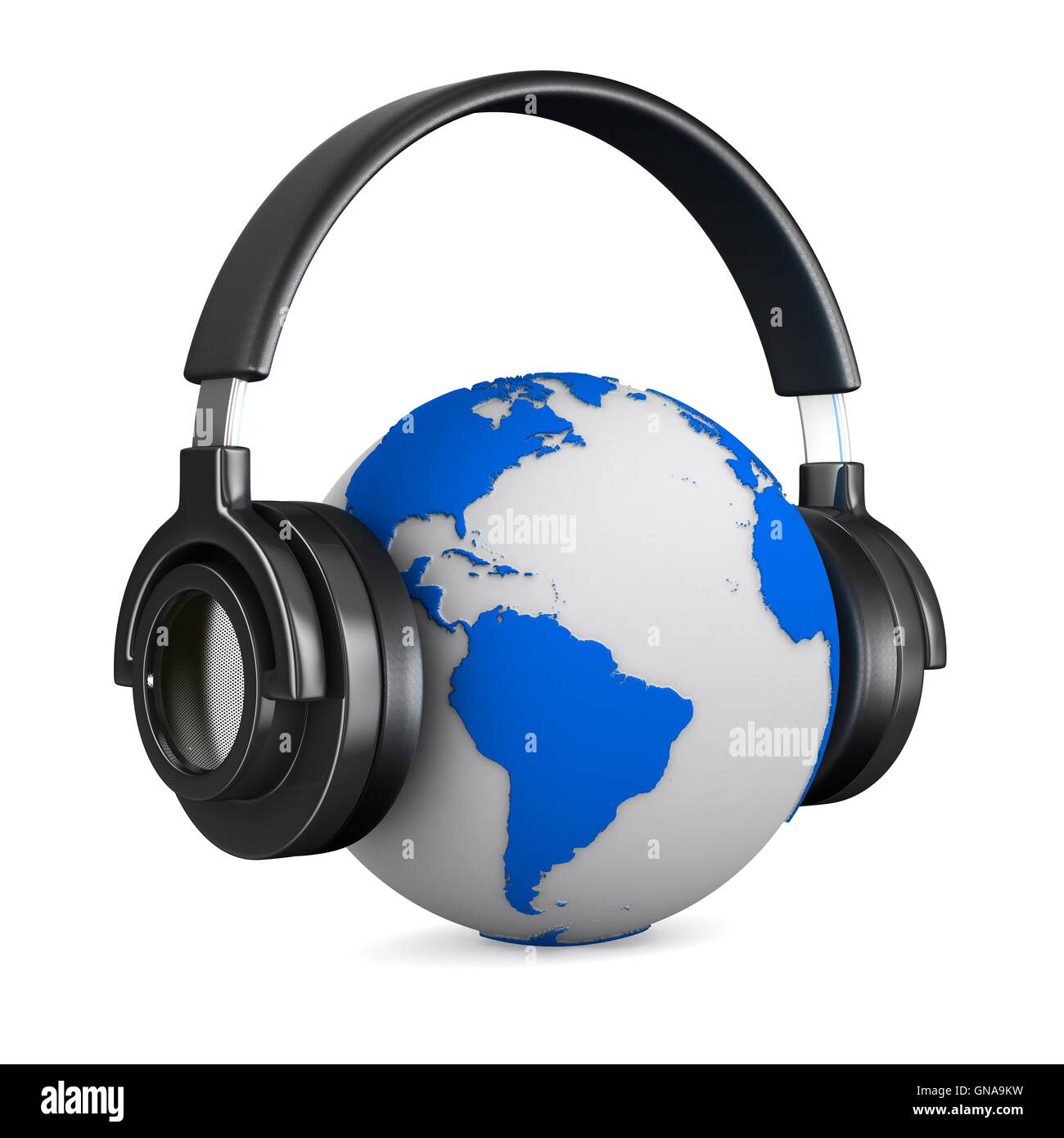 Headset On Globe Isolated Stock Photos Headseet Kw Headphone And White Background 3d Image
