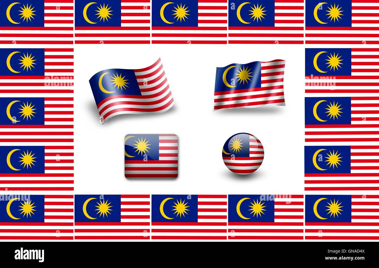 Flag of Malaysia. icon set. flags frame Stock Photo: 116399834 - Alamy