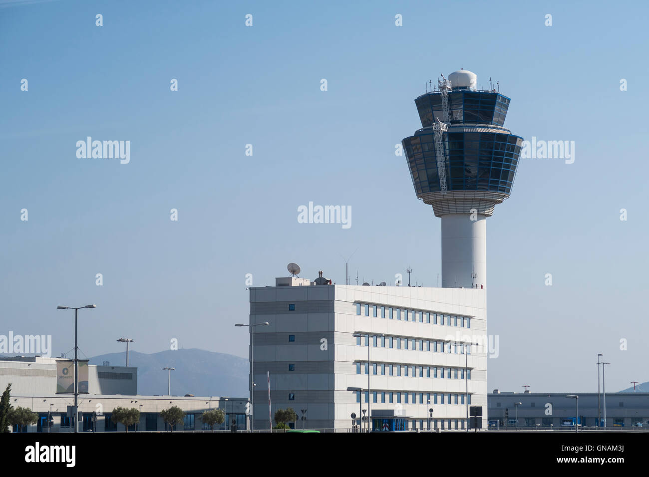 Athens, Greece - August 06 2016: Athens Airport Traffic Control Tower (ATC). - Stock Image