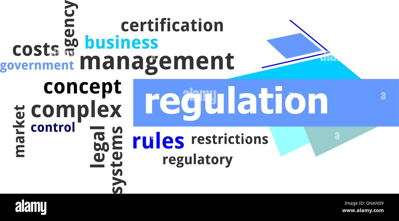 word cloud - regulation - Stock Image