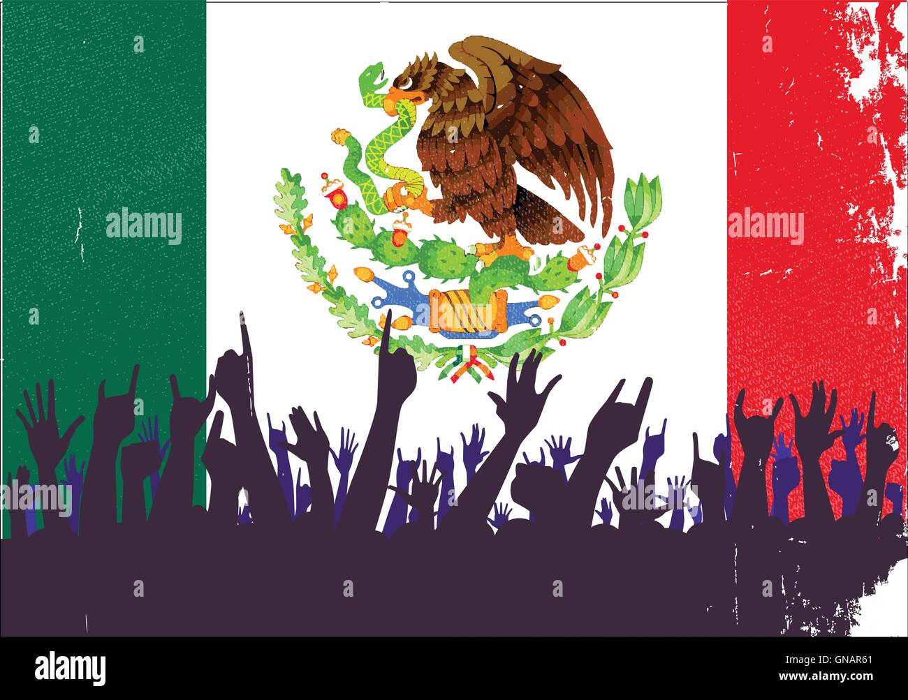 Mexico Flag with Audience - Stock Image