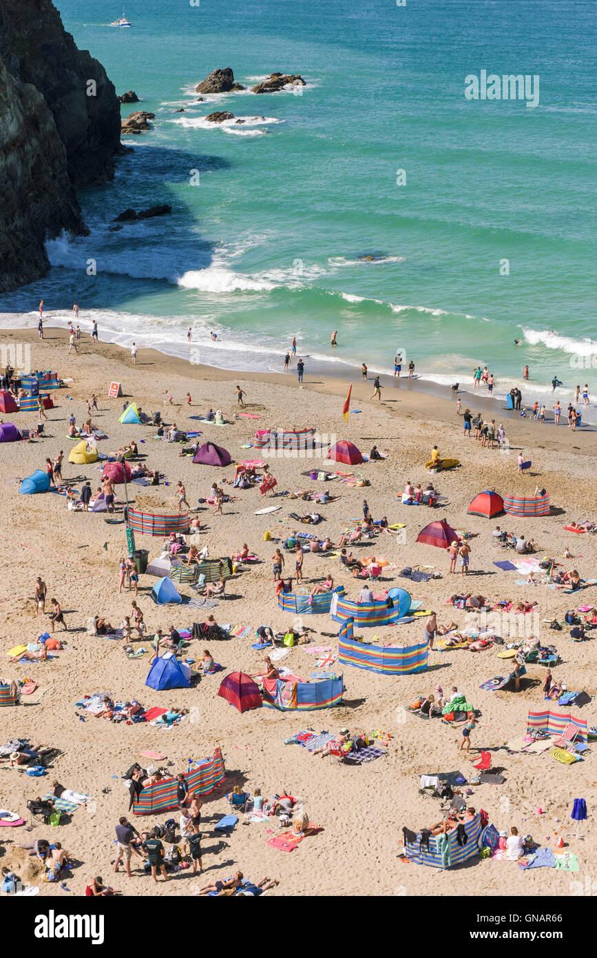 Lusty Glaze beach in Newquay, Cornwall. - Stock Image