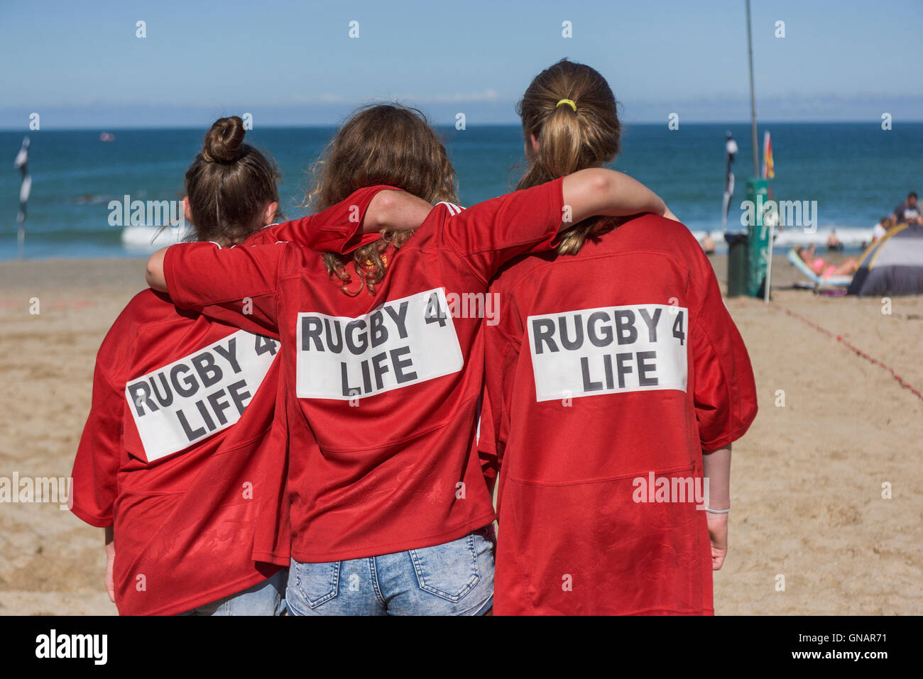 The annual Beach Tag Rugby tournament at Lusty Glaze in Newquay, Cornwall. - Stock Image