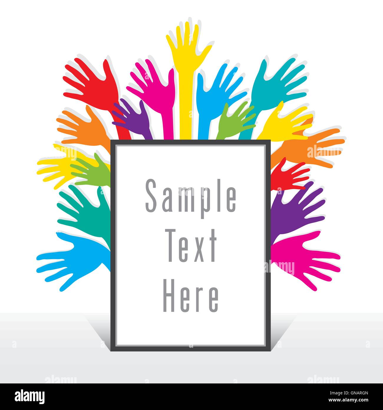 blank frame for write your text with colorful hand background design ...