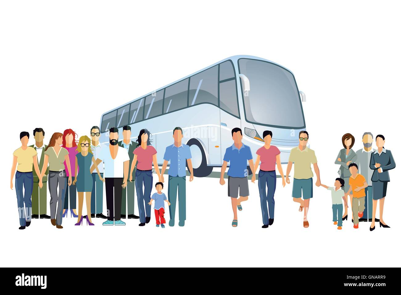 Bus travel - Stock Vector
