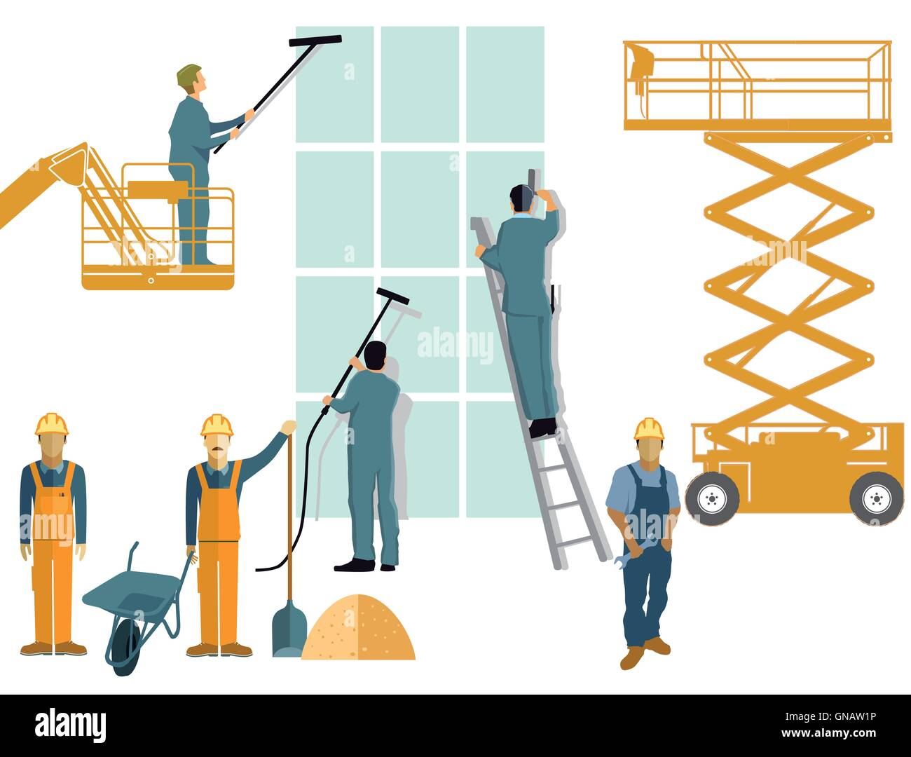 Construction and building cleaning - Stock Vector