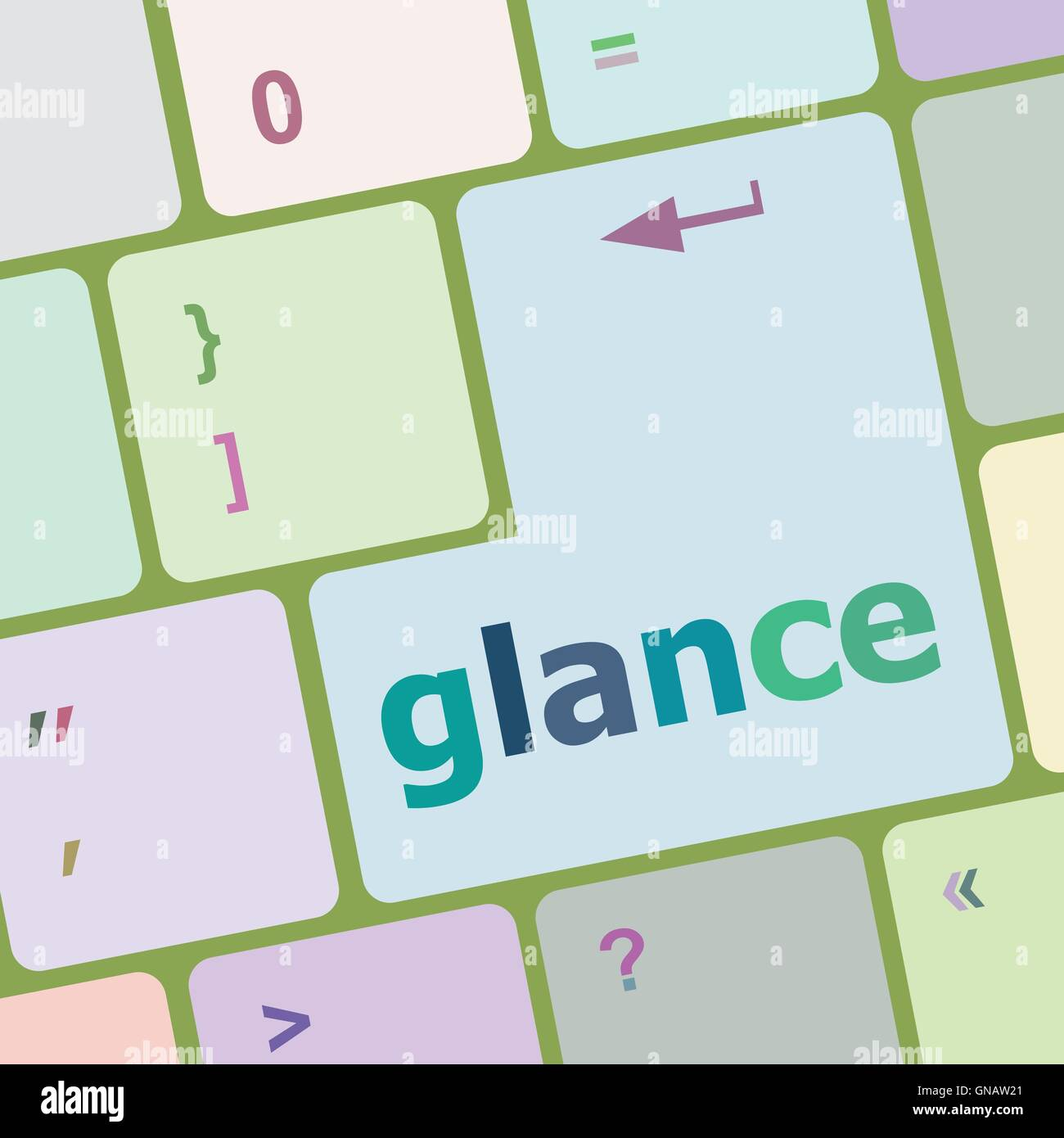 glance word on keyboard key, notebook computer button vector illustration - Stock Image